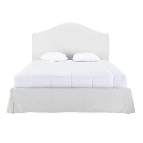 lit housser avec sommier lattes 160 x 200 cm en bois et lin cru danceny maisons du monde. Black Bedroom Furniture Sets. Home Design Ideas