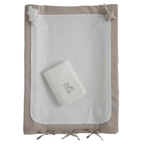 Matelas langer b b en coton blanc 52 x 70 cm ourson for Table a langer 52 cm