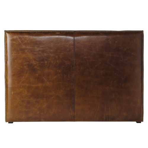 t te de lit en cuir marron effet vieilli l 162 cm andrew maisons du monde. Black Bedroom Furniture Sets. Home Design Ideas