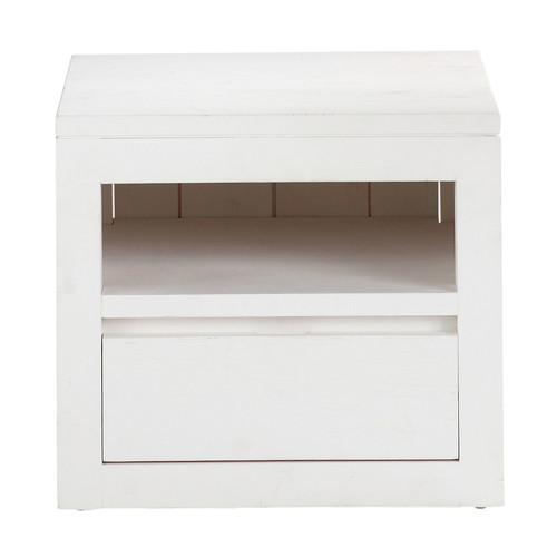 Table de chevet avec tiroir en bois massif blanche l 40 cm white maisons du - Chevet tiroir a suspendre ...