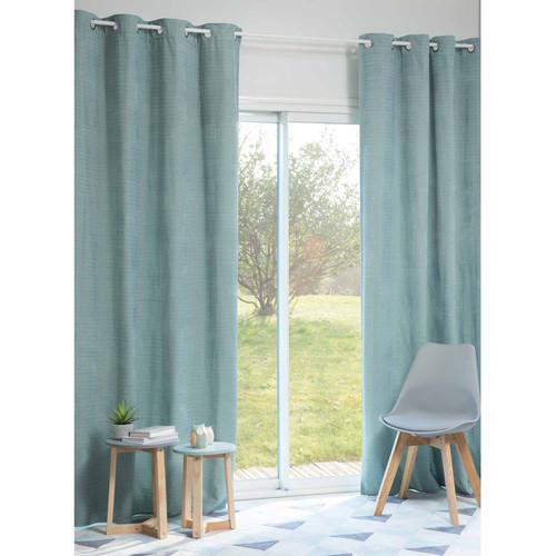 rideau illets bleu 140 x 250 cm jobs maisons du monde. Black Bedroom Furniture Sets. Home Design Ideas