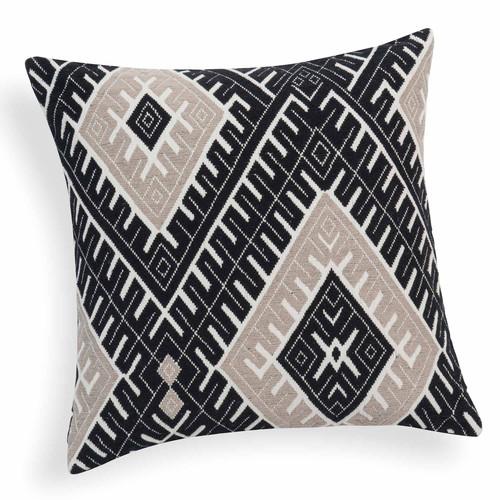 housse de coussin en coton noire beige 45 x 45 cm karada. Black Bedroom Furniture Sets. Home Design Ideas