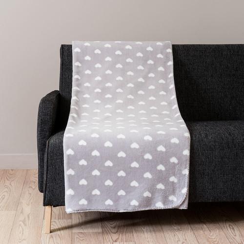 plaid c ur en tissu gris 150 x 230 cm chaleur maisons du monde. Black Bedroom Furniture Sets. Home Design Ideas
