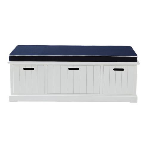 banc de rangement enfant en bois blanc l 130 cm princeton. Black Bedroom Furniture Sets. Home Design Ideas