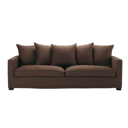 canap chocolat 4 5 places leonard maisons du monde. Black Bedroom Furniture Sets. Home Design Ideas