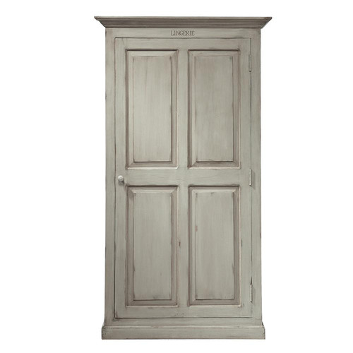 Mango wood wardrobe in pearl grey w 110cm saint r my for Armoire newport maison du monde