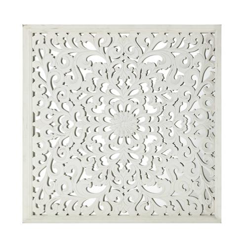 D co murale en bois sculpt blanche 91 x 91 cm khasab for Decoration murale bois sculpte