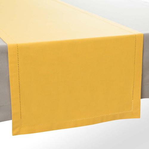 Chemin de table uni en coton jaune moutarde l 150 cm for Chemin de table jaune