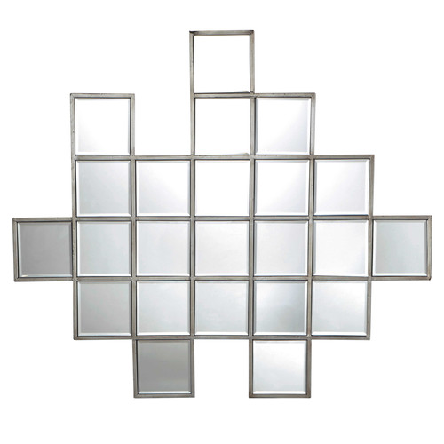 miroir biseaut en m tal argent h 91 cm enigma maisons du monde. Black Bedroom Furniture Sets. Home Design Ideas