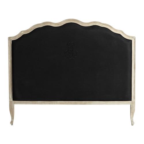 Testata da letto nera in lino 140 cm ombelline maisons for Cuscini testata letto maison du monde