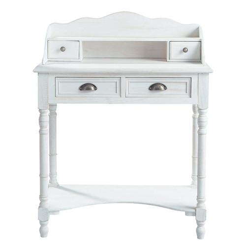 Bureau secr taire en bois blanc l 80 cm jos phine for Bureau bois et blanc