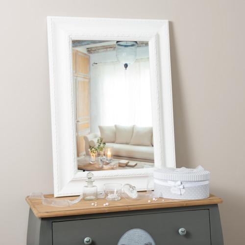 miroir en bois de paulownia blanc h 90 cm l onore