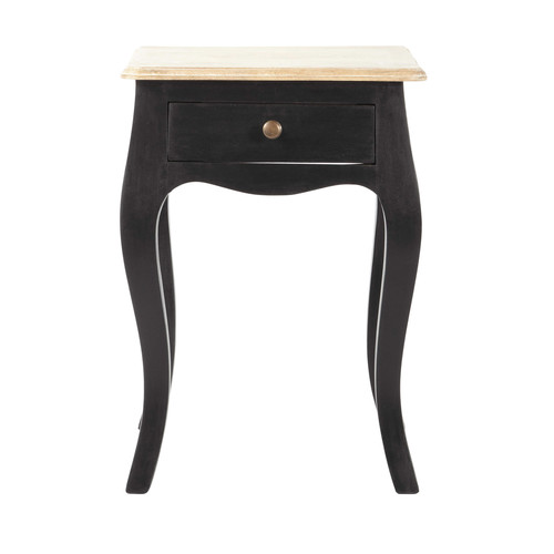 table de chevet avec tiroir en manguier noire l 42 cm. Black Bedroom Furniture Sets. Home Design Ideas