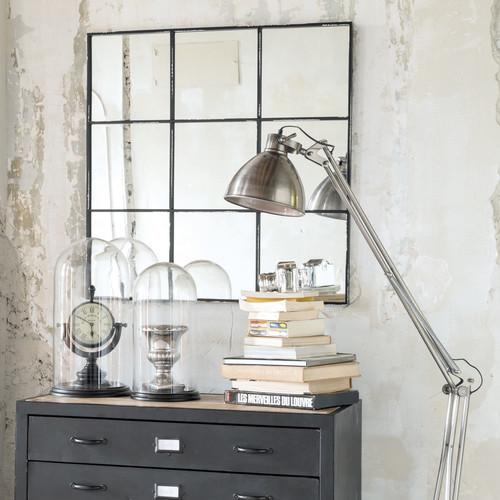 Miroir en m tal noir h 90 cm tobias maisons du monde for Miroir harmon 90 cm