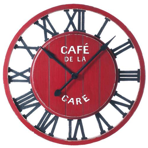 Horloge en bois rouge d 81 cm caf de la gare maisons du - Horloge murale style gare ...