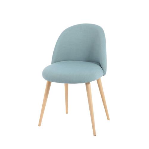 Chaise vintage en tissu et bouleau massif bleue mauricette - Chaise de bureau design pas cher ...