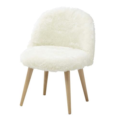 chaise vintage enfant en fausse fourrure et bouleau massif ivoire mauricette maisons du monde. Black Bedroom Furniture Sets. Home Design Ideas