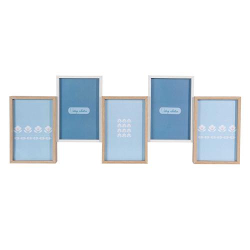 cadre photo 5 vues en bois 21 x 55 cm clark capri maisons du monde. Black Bedroom Furniture Sets. Home Design Ideas