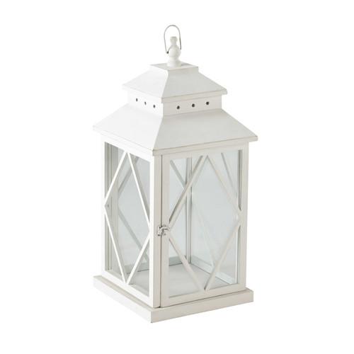 Lanterne en bois blanche h 67 cm baltimore maisons du monde - Lanterne exterieur maison du monde ...