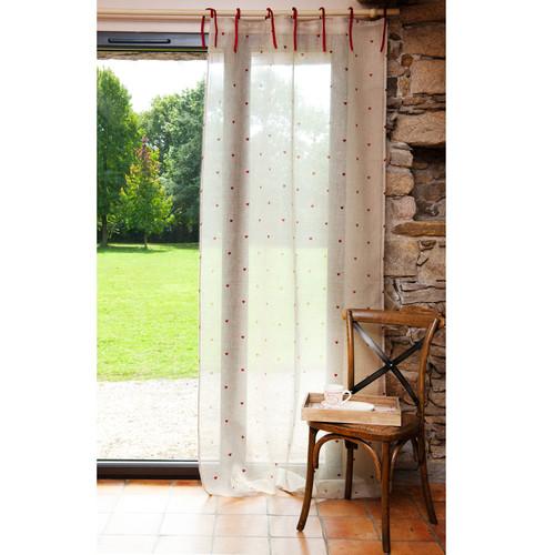 rideau nouettes en lin cru et rouge 105 x 250 cm c ur maisons du monde. Black Bedroom Furniture Sets. Home Design Ideas