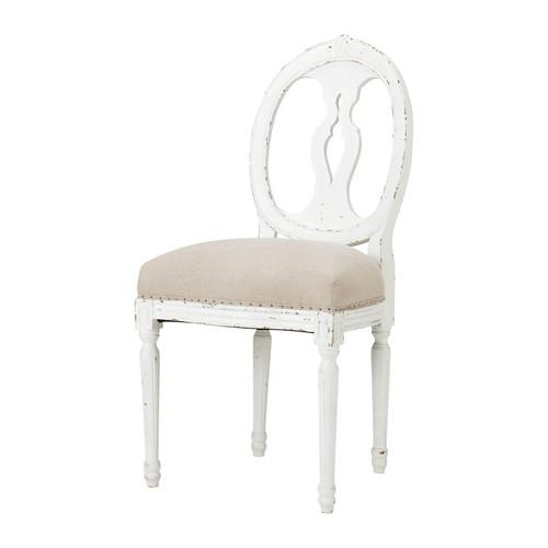 Chaise En Bois Massif : chaise m?daillon en lin et bois massif pleine de charme la chaise