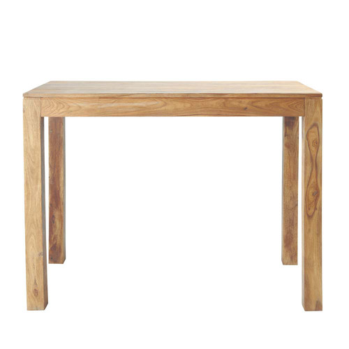 Table haute de salle manger en bois de sheesham massif l for Table de bar haute bois
