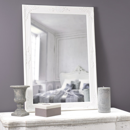 Miroir en bois blanc h 104 cm enzo maisons du monde for Miroir bois blanc