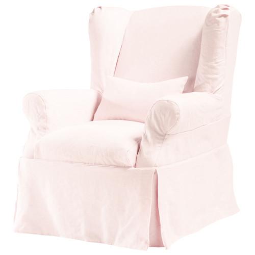 housse de fauteuil en lin lav rose p le cottage maisons du monde. Black Bedroom Furniture Sets. Home Design Ideas