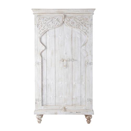 armoire en manguier blanche l 102 cm sinbad maisons du monde. Black Bedroom Furniture Sets. Home Design Ideas