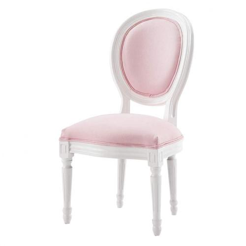 chaise m daillon enfant en bois blanche et rose louis maisons du monde. Black Bedroom Furniture Sets. Home Design Ideas