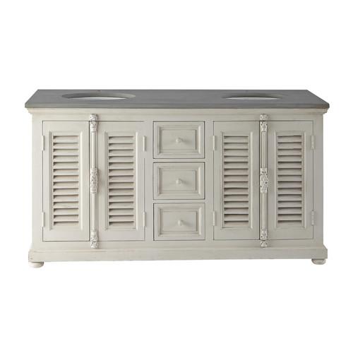 meuble double vasque en bois et pierre naturelle l 160 cm castille maisons du monde. Black Bedroom Furniture Sets. Home Design Ideas