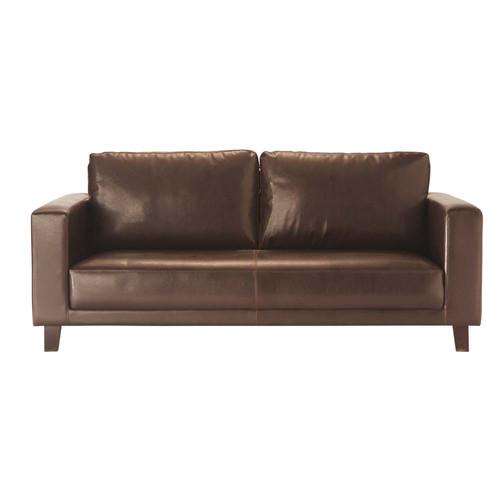 canap 3 places imitation cuir marron nikeo maisons du monde. Black Bedroom Furniture Sets. Home Design Ideas