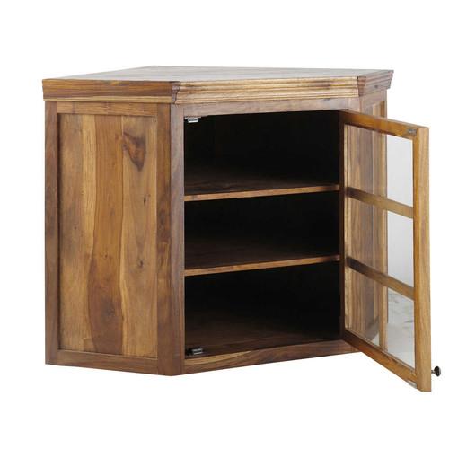 Meuble haut dangle vitré de cuisine ouverture droite en bois de sheesham -> Meubles Luberon