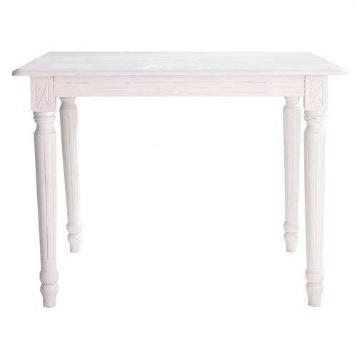 Table de salle manger rallonges en bois blanche l 100 - Table blanche carree avec rallonges ...
