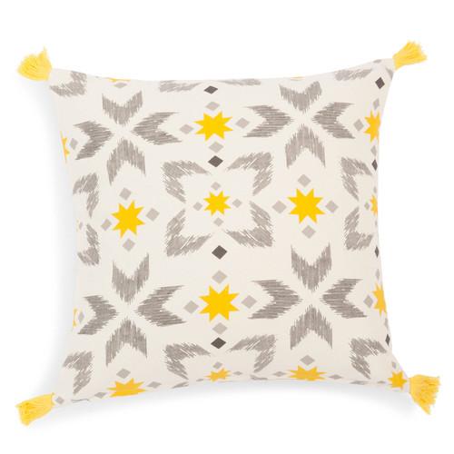 housse de coussin pompons en coton jaune grise leiria. Black Bedroom Furniture Sets. Home Design Ideas