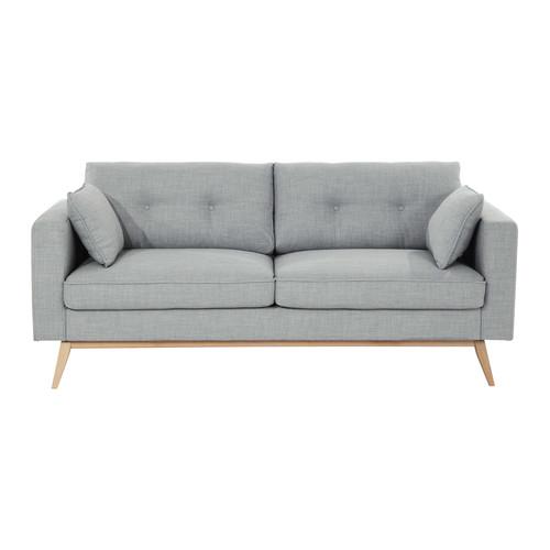canap 3 places en tissu gris clair brooke maisons du monde. Black Bedroom Furniture Sets. Home Design Ideas