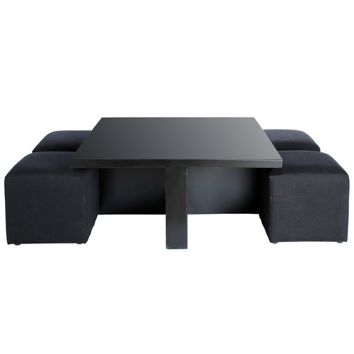 Black square coffee table and 4 stools cubik cubik - Table basse rectangle ...