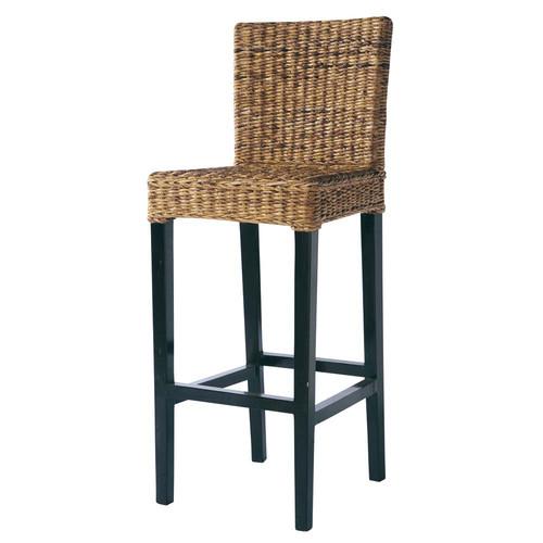 chaise de bar en abaca et mahogany massif rangoon maisons du monde. Black Bedroom Furniture Sets. Home Design Ideas