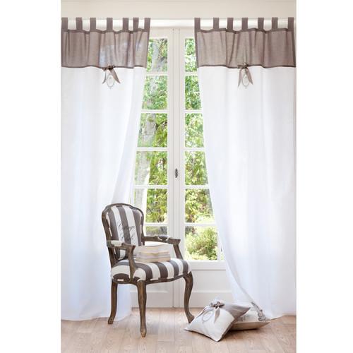 Rideau passants en lin cru 105 x 250 cm noeu maisons - Maisons du monde rideaux ...