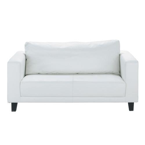 canap 2 places imitation cuir blanc nikeo maisons du monde. Black Bedroom Furniture Sets. Home Design Ideas