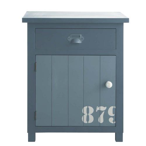 Table de chevet avec tiroir en bois grise l 34 cm cargo maisons du monde - Table de chevet grise ...