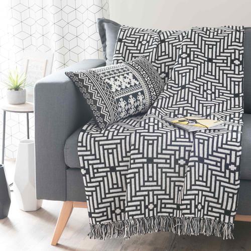 jet en coton noir blanc 160 x 210 cm evora maisons du monde. Black Bedroom Furniture Sets. Home Design Ideas
