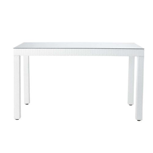 Tavolo alto bianco da giardino in vetro temperato e resina intrecciata ...
