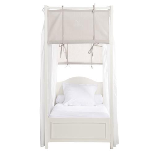 Lit Baldaquin Bois Blanc : Lit ? baldaquin 90 x 190 cm en bois blanc Manosque Maisons du Monde
