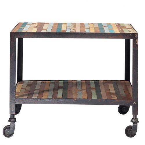 Bout de canap roulettes en bois multicolore l 45 cm for Bout de canape maison du monde