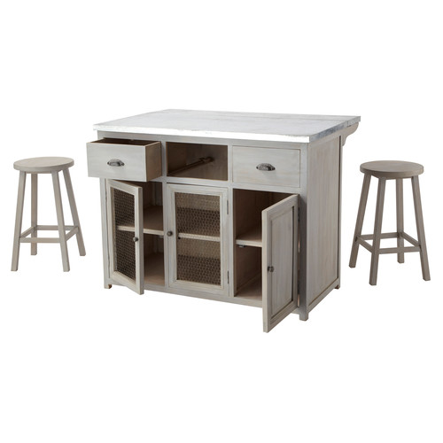 ilot central 120 cm 2 tabourets zinc maisons du monde. Black Bedroom Furniture Sets. Home Design Ideas