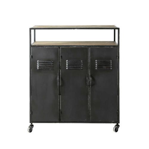 Mueble bar industrial con ruedas de metal antracita An 85 cm Kraft