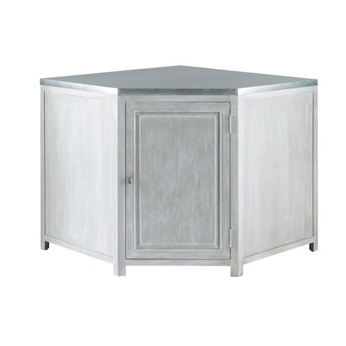 Meuble bas d 39 angle de cuisine en bois d 39 acacia gris l 99 for Amenagement cuisine meuble bas angle