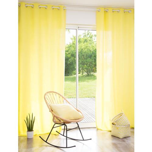 rideau illets en lin lav jaune 110 x 250 cm maisons. Black Bedroom Furniture Sets. Home Design Ideas