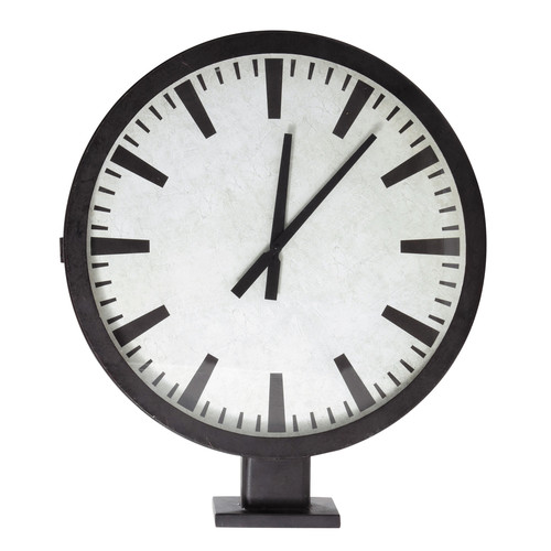 Horloge poser double cadran en m tal effet rouille d 70 cm urban - Horloge double cadran ...